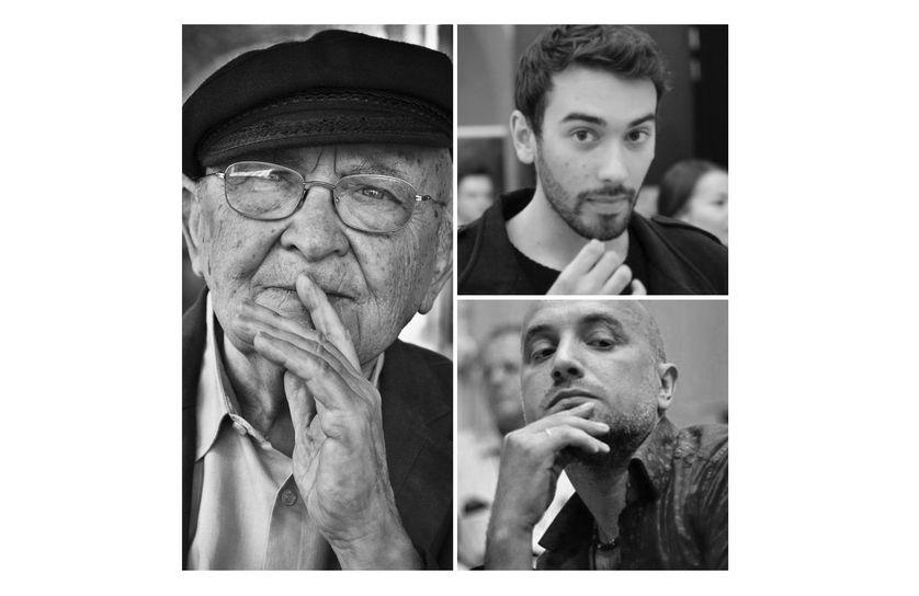 A gauche : Aharon Appelfeld. A droite de haut en bas : Pierre Sautreuil et Zakhar Prilepine