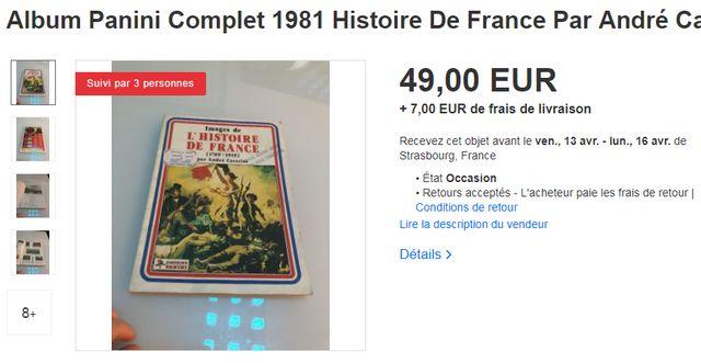 L'album de vignettes se vend quelques dizaines d'euros sur des sites comme ebay
