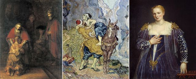 """""""Le retour du fils prodigue"""" (Rembrandt - Musee de l'Ermitage) - """"Le Bon Samaritain"""" d'après Delacroix (Van Gogh - Kröller-Müller Museum, Otterlo (Pays-Bas)) - """"Portrait de la belle Nani"""" (Veronese - musee du Louvre)"""
