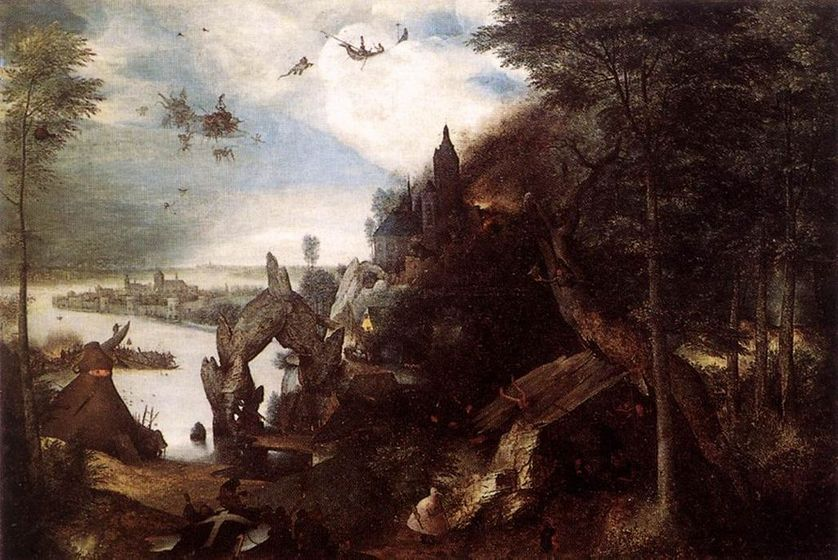 La Tentation de Saint Antoine (Pierre Bruegel l'Ancien, circa 1577) - Ce tableau a tant frappé Flaubert qu'il l'a inspiré pour la rédaction de son ouvrage du même nom