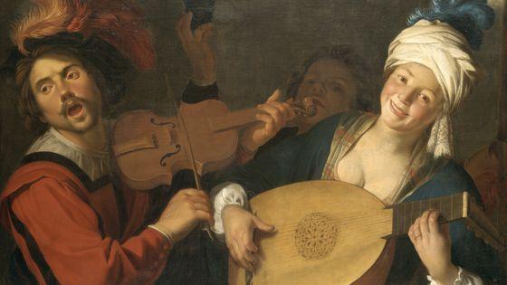Les Chanteurs, Gerrit van Honthorst (1590-1656) Milieu du XVIIe siècle Huile sur toile Lyon, musée des Beaux-Arts