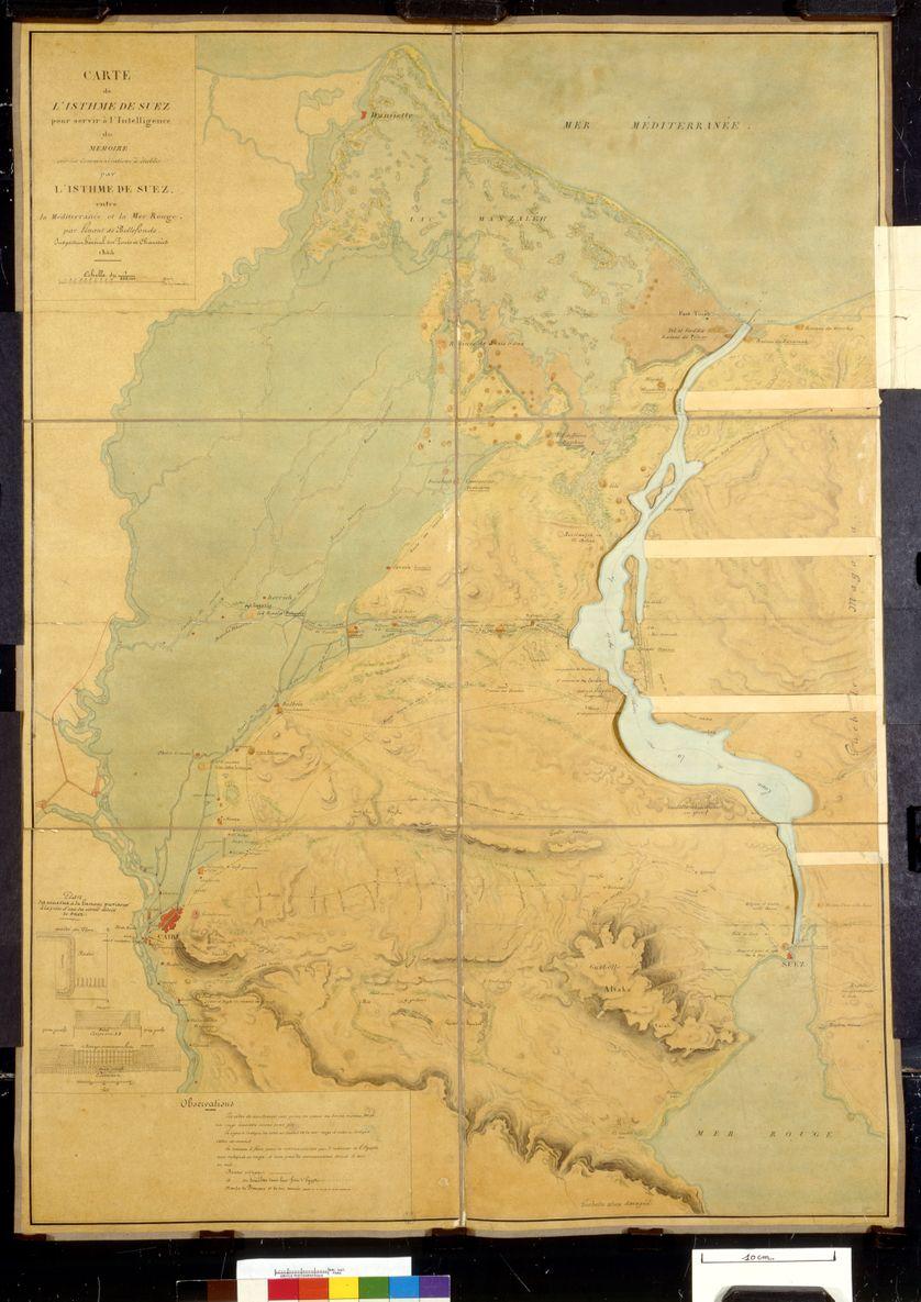 Carte de l'Isthme de Suez, pour servir à l'intelligence du mémoire sur les communications à établir par l'isthme de Suez entre la Méditerranée et la mer Rouge, Louis Maurice Adolphe, Linant de Bellefonds