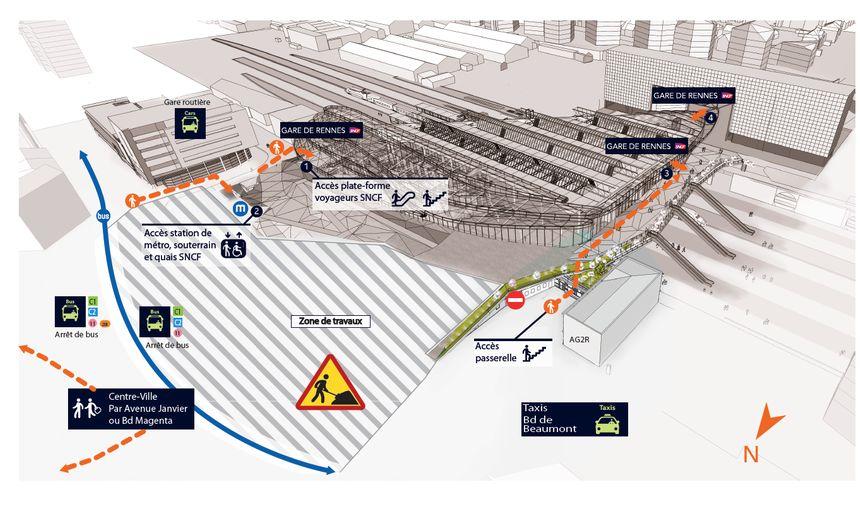 Le plan d'accès à la gare à compter du 15 mars