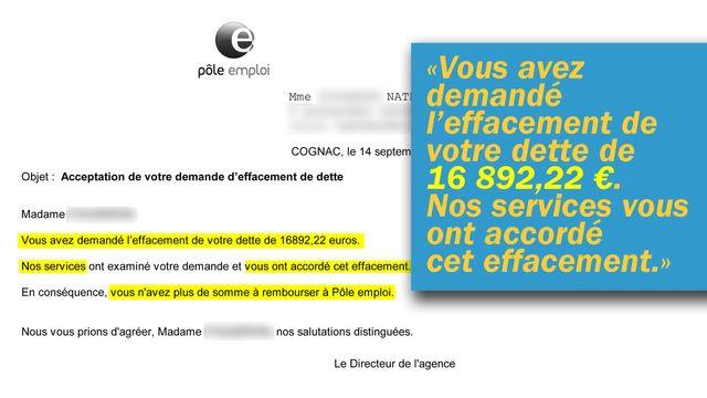 Mail de Pôle emploi reçu par Nathalie qui confirme l'effacement de sa dette.