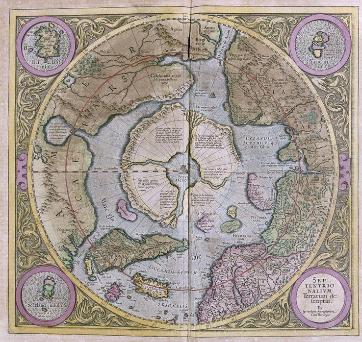 "Les régions polaires in : ""Atlas cosmographicae Meditationes"" de Gérard Mercator (1595)"
