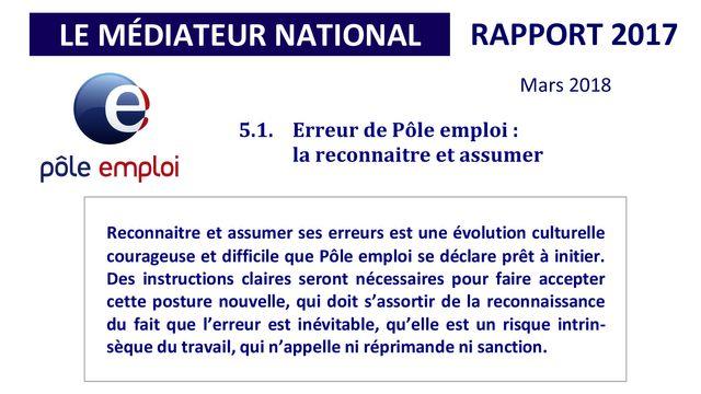 """""""Reconnaître et assumer"""" : extrait du dernier rapport du médiateur national de Pôle emploi sur l'année 2017."""