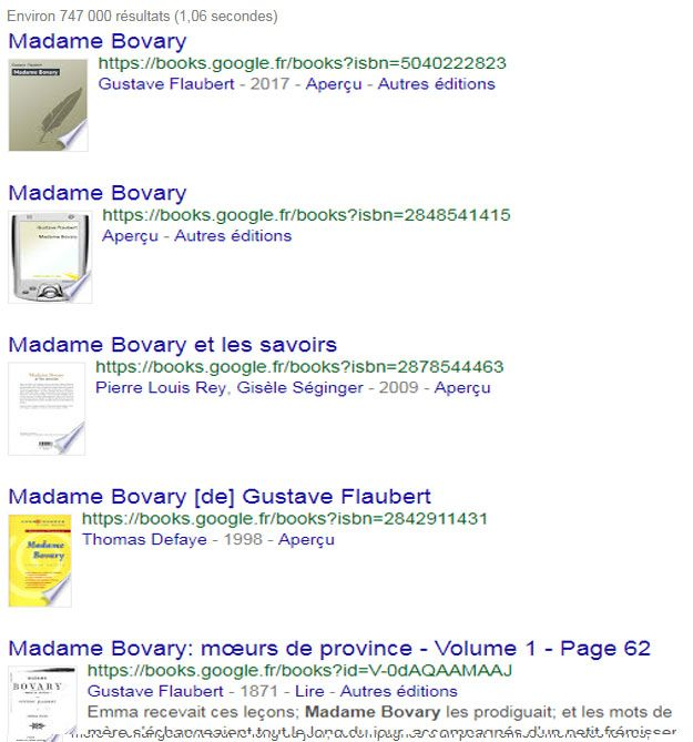 Recherche sur Madame Bovary dans l'onglet Livres de Google