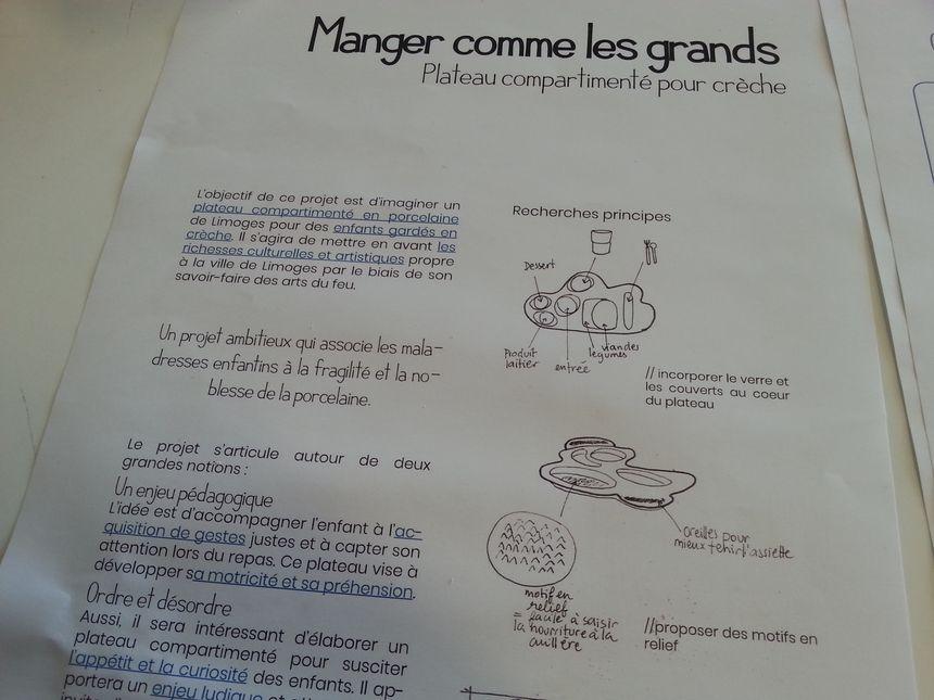 Théa Dessaignes a commencé à dessiner des ébauches de ce plateau repas compartimenté (document de travail)