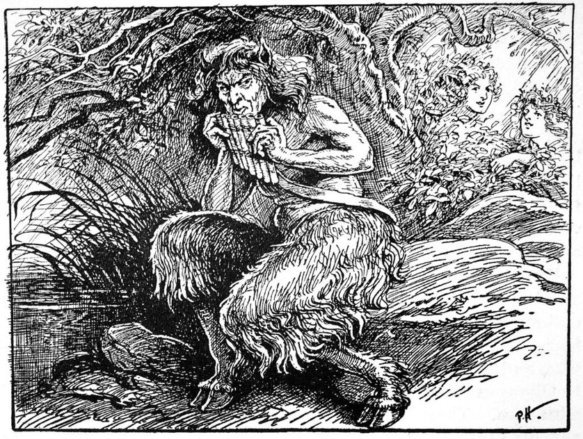 Pan, 1925. Pan is the Ancient Greek god of shepherds, hunting and rustic music. From The Book of Myths by Amy Cruse, 1925