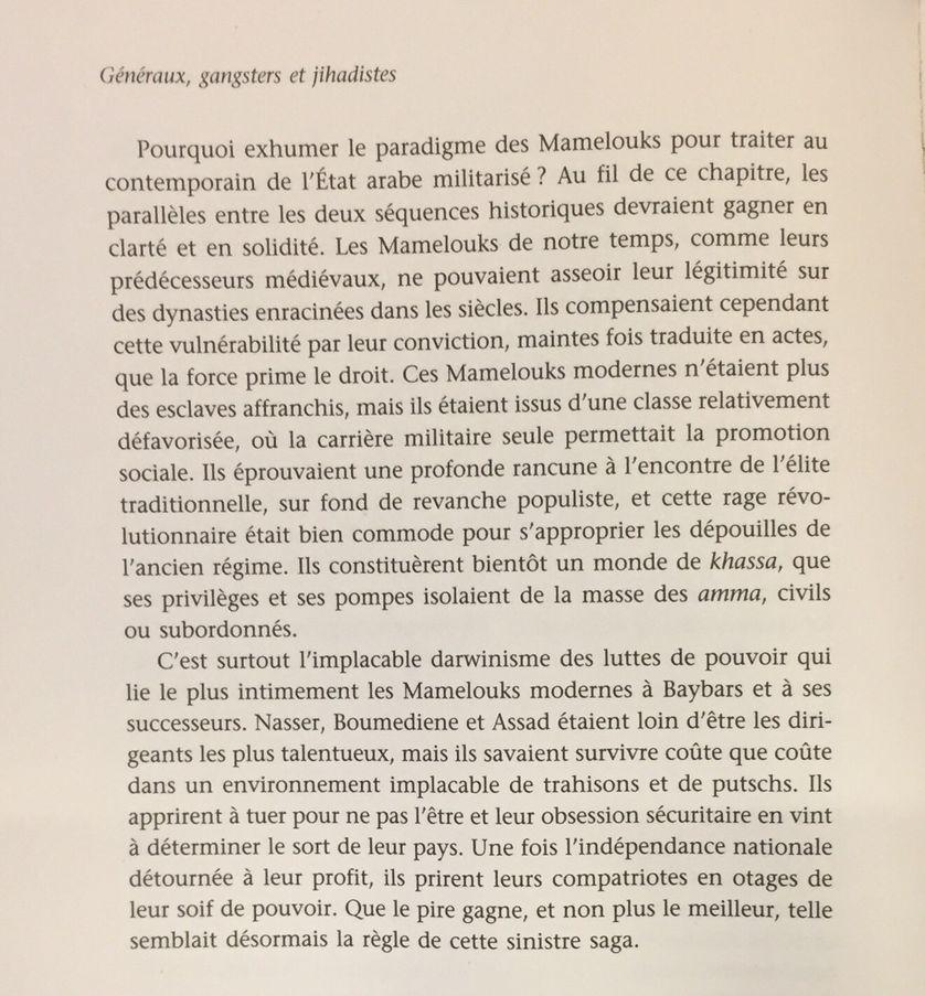"""Extrait du chapitre """"Les mamelouks de notre temps"""", p.66, par Jean-Pierre Filiu, """"Généraux, Gangsters et djihadistes. Histoire de la contre-révolution arabe"""", à La Découverte"""