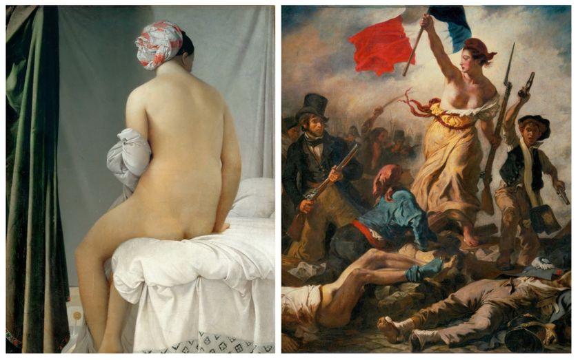 """""""La Baigneuse Valpinçon"""" de Jean-Auguste-Dominique Ingres · """"La liberté guidant le peuple, d'Eugène Delacroix"""