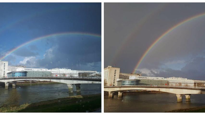 Deux doubles arcs-en-ciel en quelques heures au-dessus du CHU de Nantes