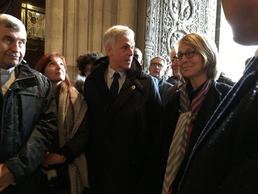 Françoise Nyssen, la ministre de la Culture visite la basilique de Saint-Denis