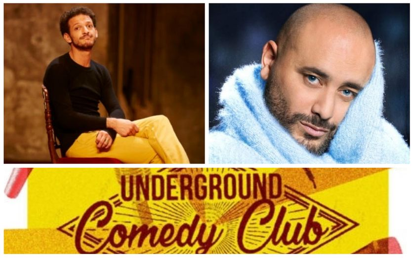 En haut : Vincent Dedienne (©Pascalito) et Jérôme Commandeur. En bas: l'affiche de l'Underground Comedy Club