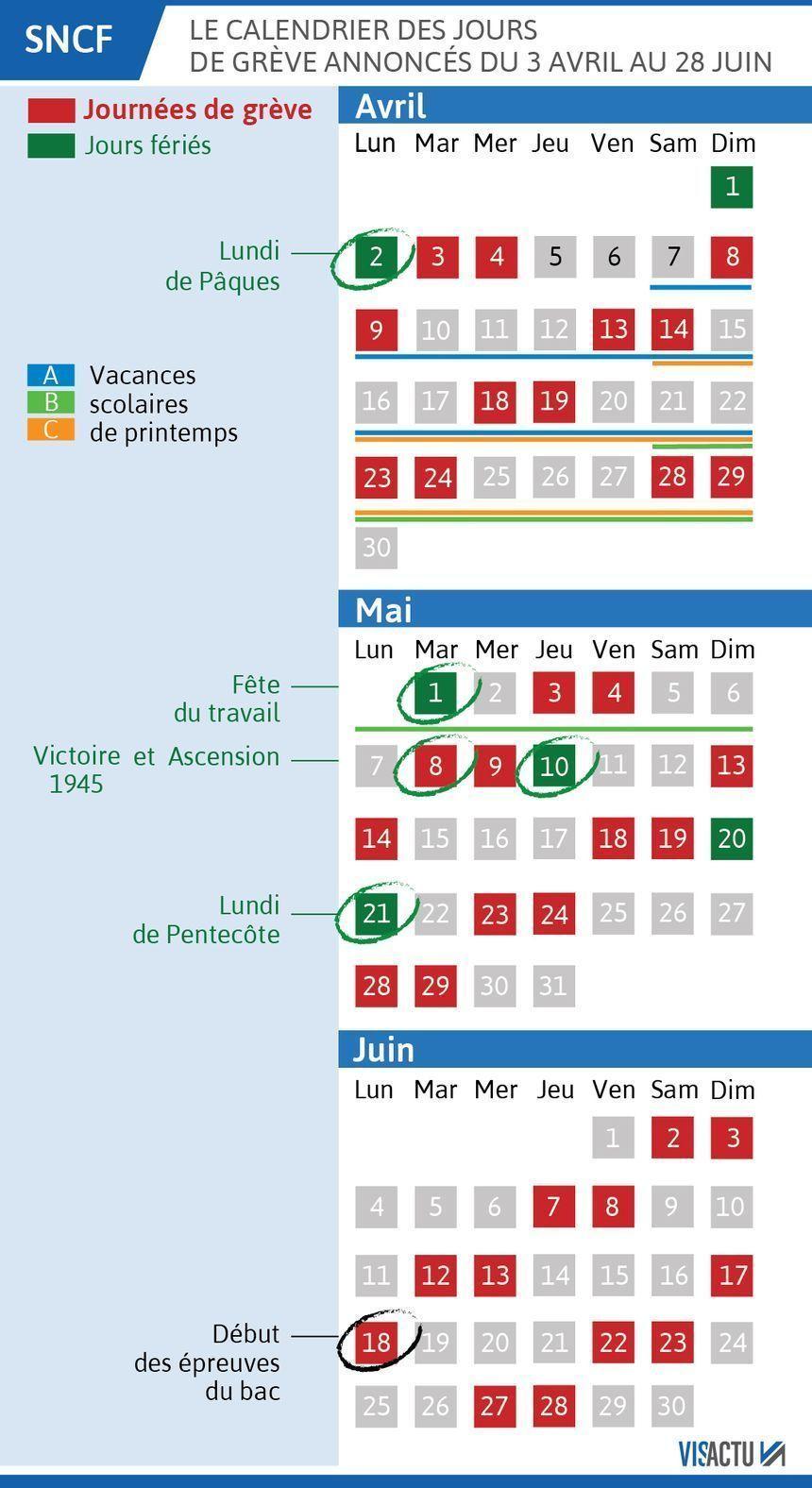 Le calendrier des grèves d'avril à juin. - Radio France