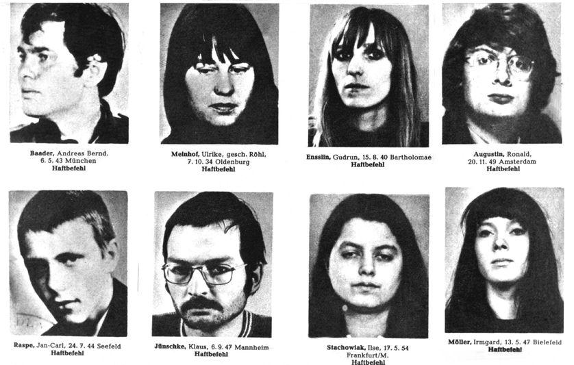 Liste des personnes recherchées par les membres de la Fraction Armée Rouge