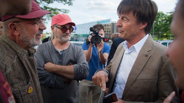 Nicolas Hulot à Nantes en juin 2017 avec des opposants à l'aéroport de Notre-Dame-des-Landes