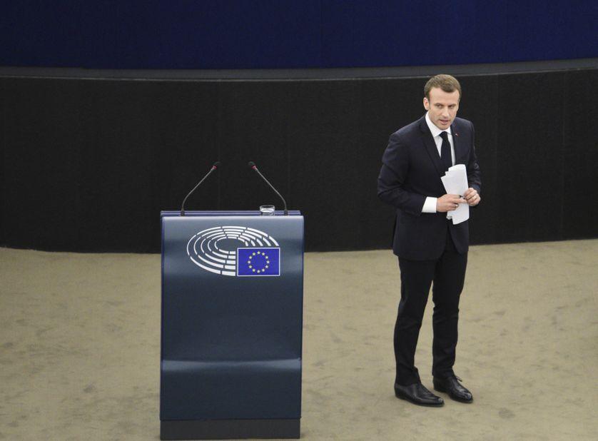 Emmanuel Macron devant le parlement européen , Strasbourg avril 2018