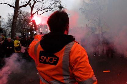 Manifestation des cheminots le 22 mars 2018 près de la Gare de l'Est à Paris