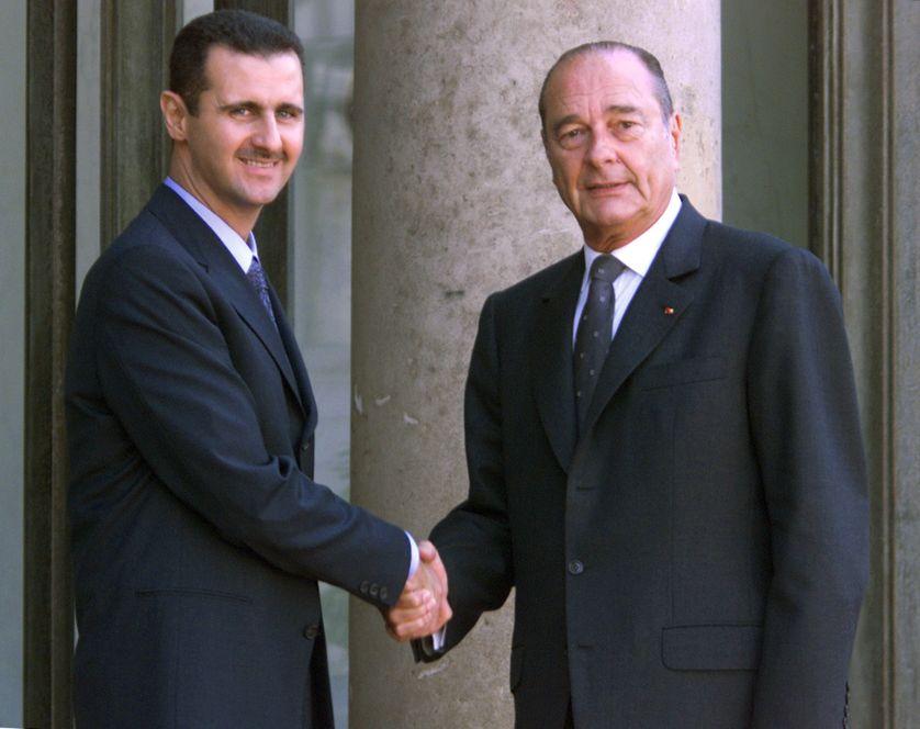 Visite de Bashar al-Assad à l'Elysée, sous la présidence de Jacques Chirac, le 25 juin 2001.