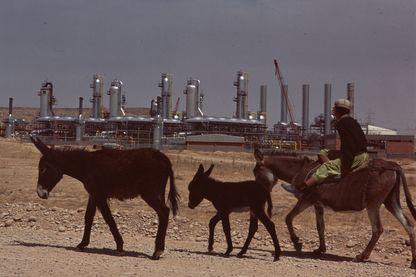 Un homme avec des ânes devant le centre de traitement des gaz de Boland dans la région d'Ahwaz en Iran en 1970