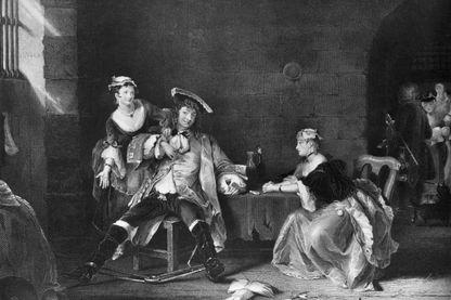 Une scène de «The Beggar's Opera» de John Gay. Oeuvre originale: Gravure après peinture par Gilbert Stuart Newton.