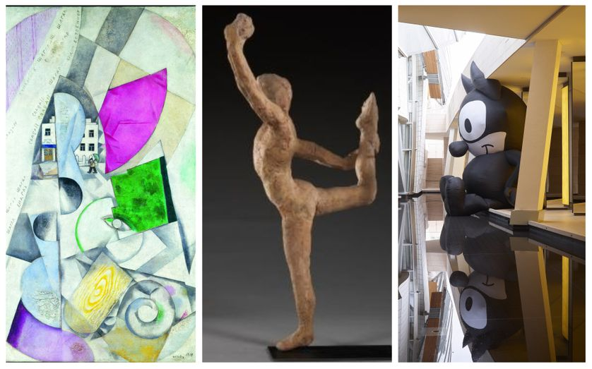 """Marc Chagall Paysage cubiste / Rodin et la danse (photo C. Baraja) / Mark Leckey, vue d'installation, accrochage """"Au diapason du monde"""""""