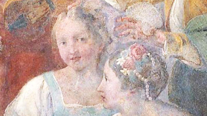 """Trompe-l'oeil """"Le putte curiose"""", salle de musique de l'Ospedaletto, Venise"""