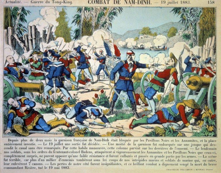 Guerre franco-chinoise (1881-1885),  le combat de Nam Dinh le 19/07/1883. Gravure du 19ème siècle.