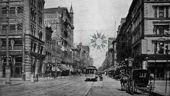 Tramway dans une rue de Saint-Louis (Missouri) en 1884