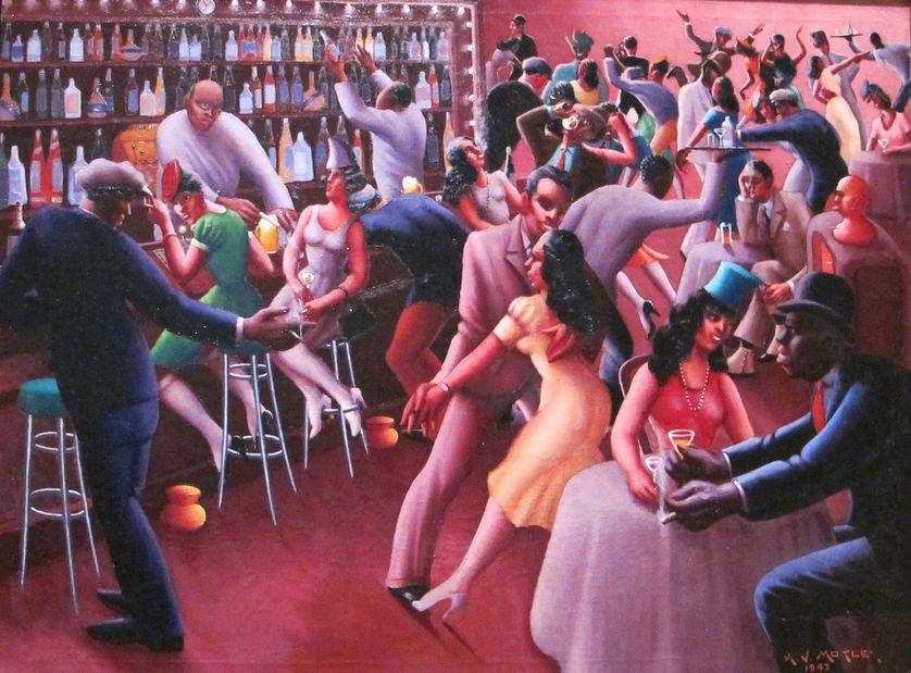 Nightlife, par Archibald Motley, un des éminents peintres de la Harlem Renaissance, qui représente l'atmosphère du mythique quartier de New York dans ses tableaux.