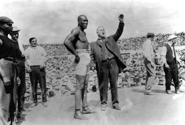 Jack Johnson avant son combat en poids lourd contre Jim Jeffries le 4 juillet 1910