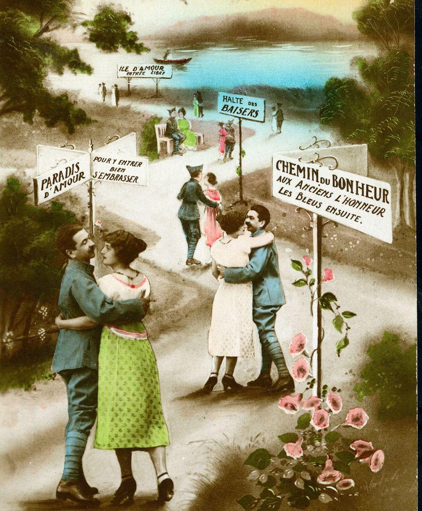carte du tendre du poilu de 1916, Première guerre mondiale - guerre 14-18.