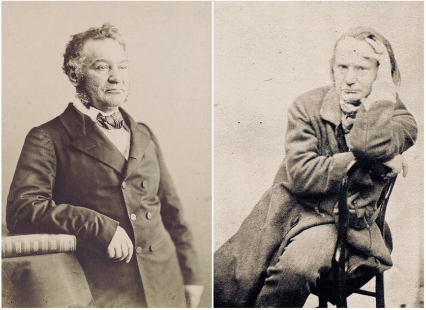 Louis Veuillot (1813-1883) photographié par l'atelier Nadar / Victor Hugo (1802-1885) photographié par son fils Charles vers 1853 (galerie Bassenge)