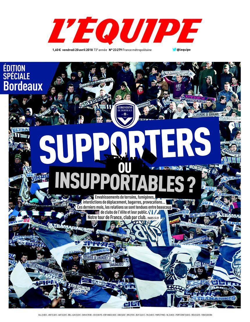 La Une de l'édition spéciale de l'Equipe consacrée à Bordeaux.