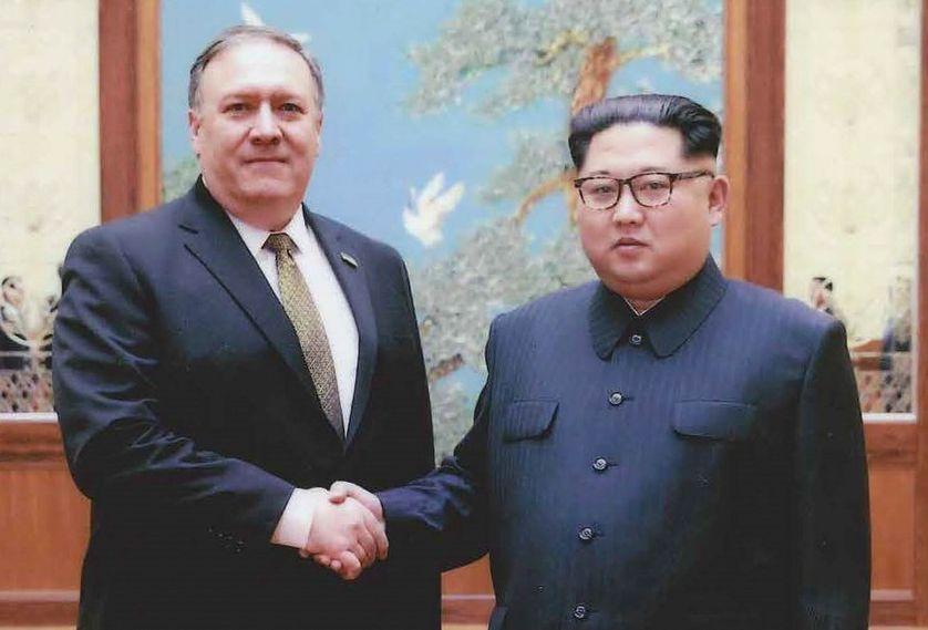 Mike Pompeo et Kim Jong-Un le 26 avril 2018.