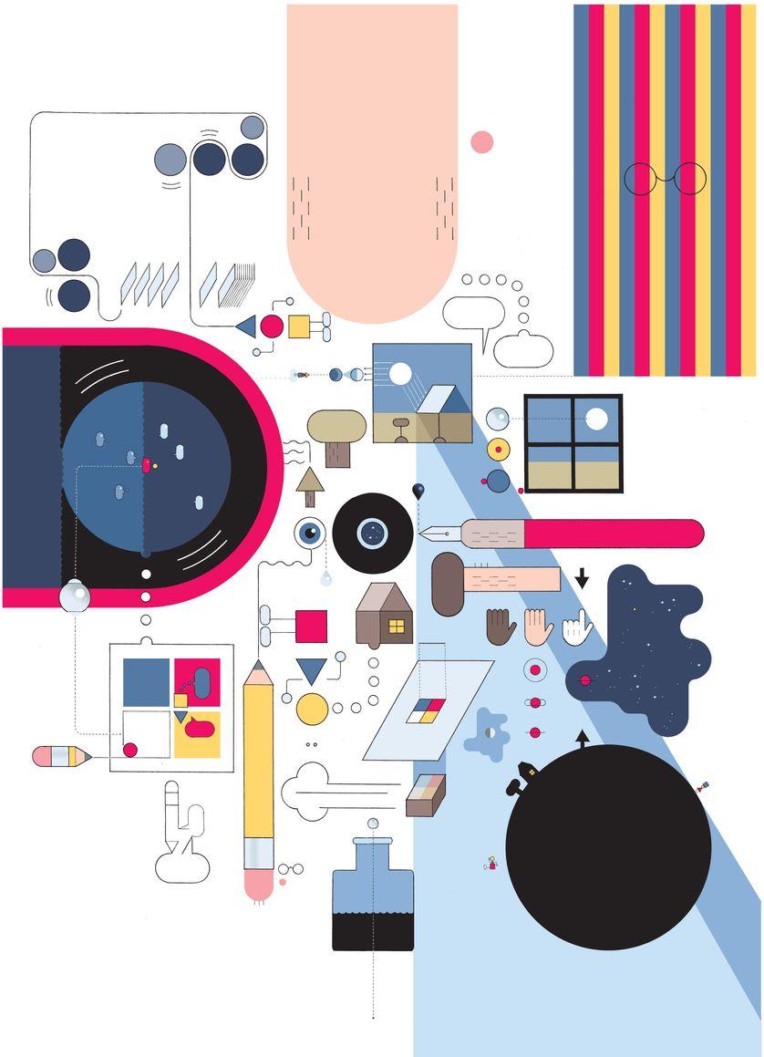 "Chris Ware, ""Comics Collage - Circle"", 2018"