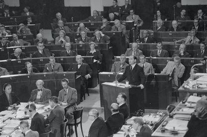 Pierre Mendes-France à Strasbourg en septembre 1954