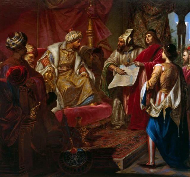 Giulio Carlini, Les Vénitiens présentent leur projet de Canal au sultan, 1869.