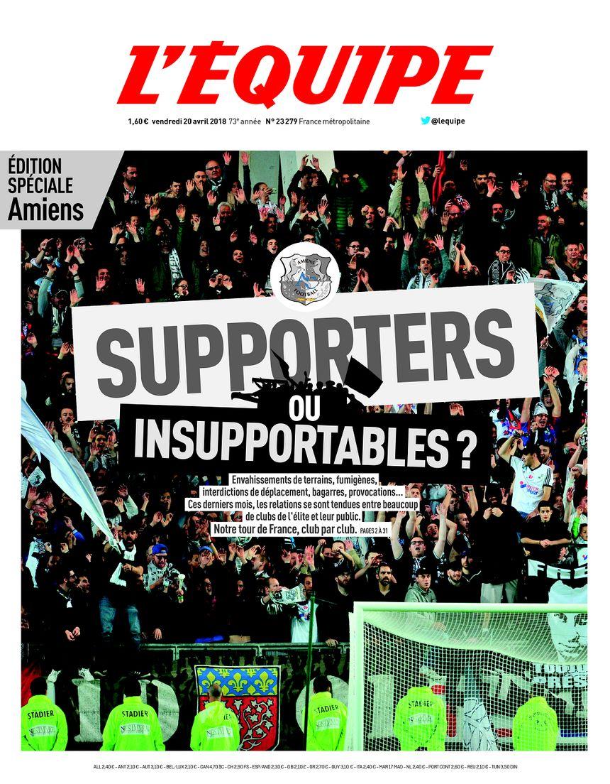 La Une de l'édition de L'Équipe consacrée aux supporters d'Amiens ce vendredi 20 avril 2018.