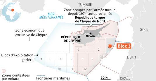 """""""Le Monde"""", Carte accompagnant,  l'article de Marie Jégo, """"La Turquie bloque l'exploration de gisements de gaz au large de Chypre"""
