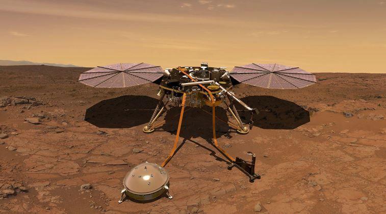 Vue d'artiste d'un atterrisseur de la mission Insight sur la surface de Mars