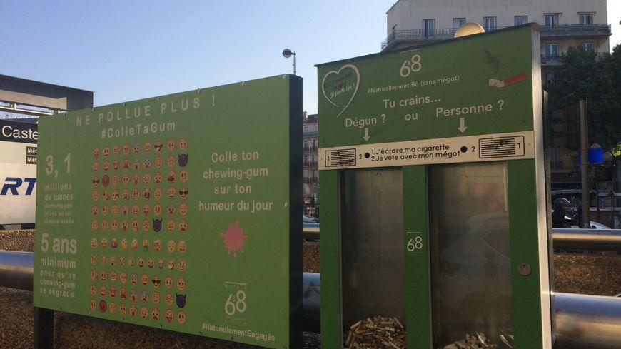 A Marseille, place Castellane, une boite à mégots a été installée