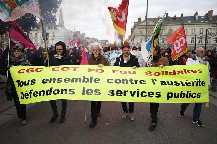 Manifestation à Montpellier pour la défense des services publics, lors de la journée nationale de mobilisation du 22 mars dernier.