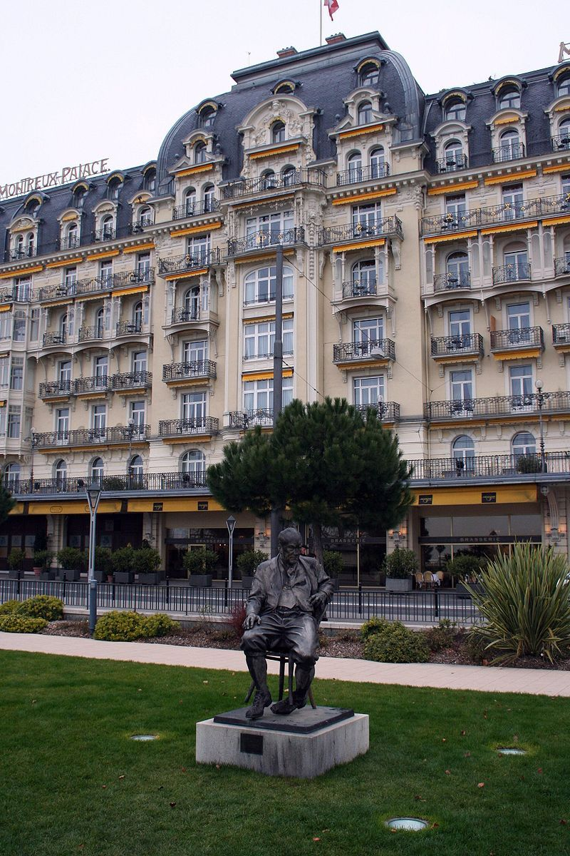 Monument of Nabokov in Montreux. In the background Hotel Montreux Palace. December 2006