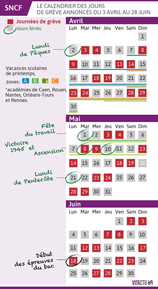 Le calendrier annoncé des jours de grève