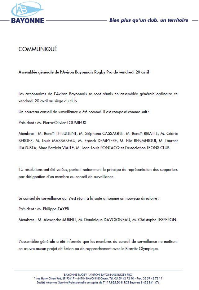 o comunicado de Bayonnis Rowing Press que formaliza a nova xunta de supervisión'Aviron Bayonnais qui officialise le nouveau conseil de surveillance