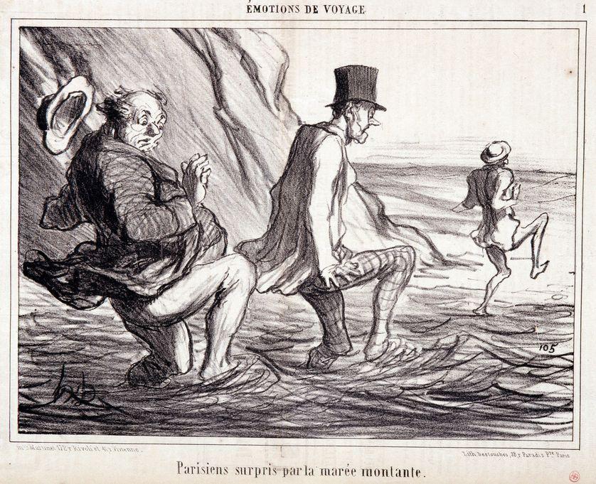 """""""Parisien surpris par la marée montante"""", gravure de Honoré Daumier, extrait du journal """"Le Charivari"""" du 8 octobre 1857 , Musée des Beaux-Arts de Marseille."""