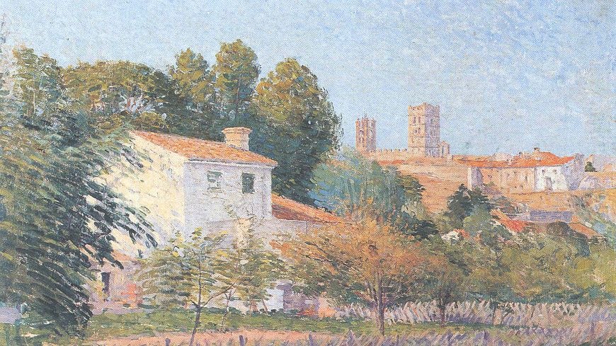 """""""Vue d'Elne"""" par Etienne Terrus (1900)"""