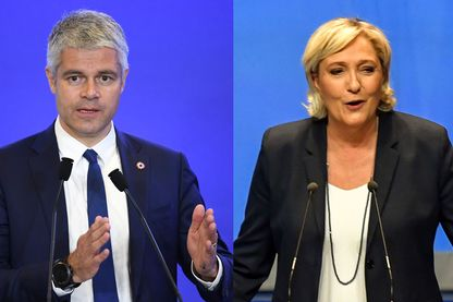 Laurent Wauquiez et Marine Le Pen (photomontage)